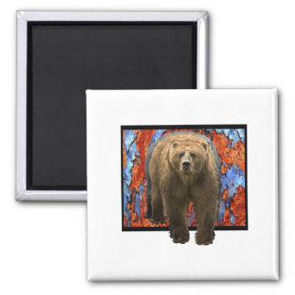 Abstract Bear Square Magnet