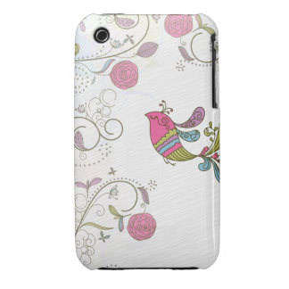Abstract Bird and Flowers iPhone 3 Case