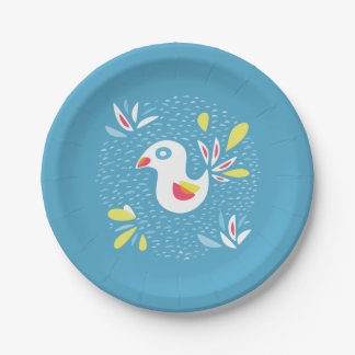 Abstract Bird In Spring Easter Paper Plate