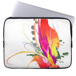 Abstract Bird of Paradise Paint Splatters Laptop Sleeve