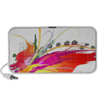Abstract Bird of Paradise Paint Splatters iPhone Speakers