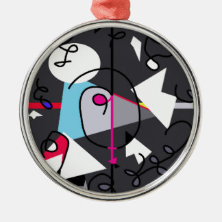Abstract bird Silver-Colored round decoration