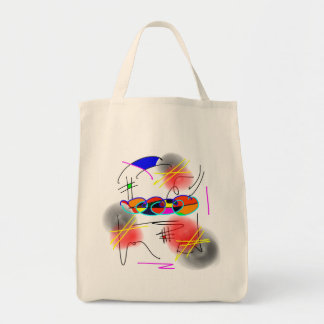 abstract birds grocery tote bag