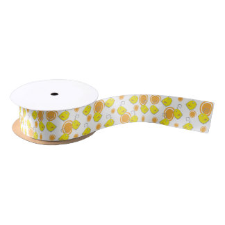 Abstract birds with yellow flowers satin ribbon
