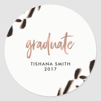 Abstract Black and Faux Rose Gold Graduation Classic Round Sticker
