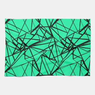 Abstract black and turquoise tea towel