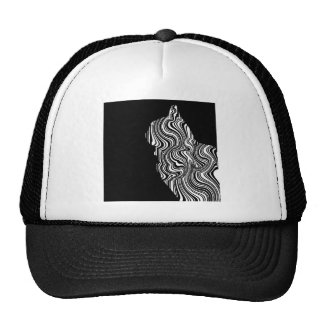 Abstract Black and White Cat Swirl monochrome one Cap