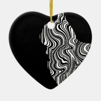 Abstract Black and White Cat Swirl monochrome one Ceramic Heart Decoration