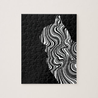 Abstract Black and White Cat Swirl monochrome one Jigsaw Puzzle