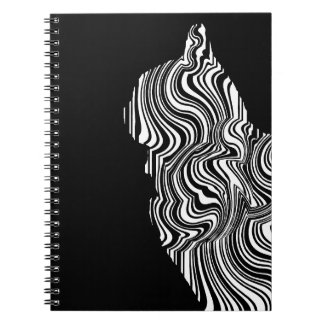 Abstract Black and White Cat Swirl monochrome one Notebooks