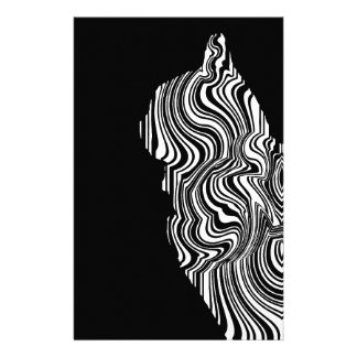 Abstract Black and White Cat Swirl monochrome one Stationery