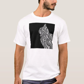 Abstract Black and White Cat Swirl monochrome one T-Shirt