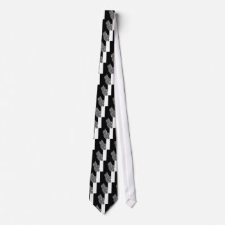 Abstract Black and White Cat Swirl monochrome one Tie