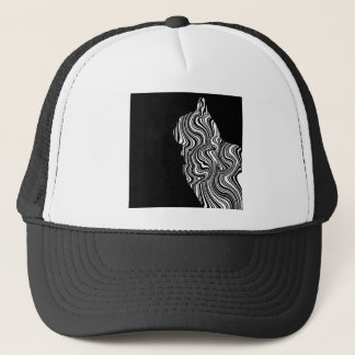 Abstract Black and White Cat Swirl monochrome one Trucker Hat