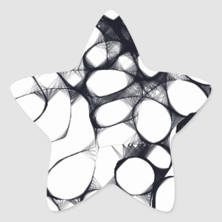Abstract Black and White Circle Pattern Star Sticker