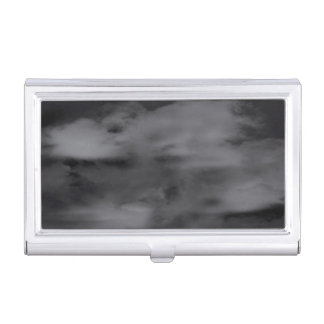 Abstract Black and White Clouds Business Card Holder