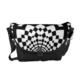 Abstract Black and White Courier Bag