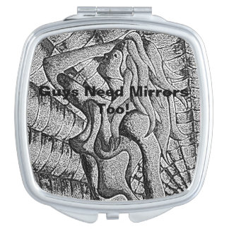 abstract black and white posing lady retro mens makeup mirror