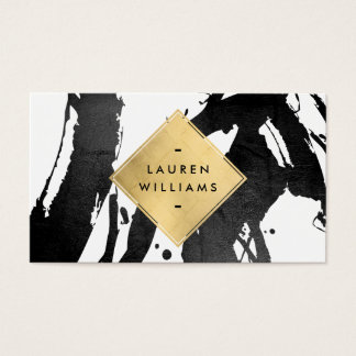 Abstract Black Brushstrokes Faux Gold Foil Diamond