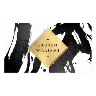 Abstract Black Brushstrokes Faux Gold Foil Diamond Pack Of Standard Business Cards