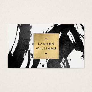 Abstract Black Brushstrokes with Faux Gold Foil