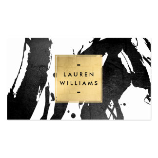 Abstract Black Brushstrokes with Faux Gold Foil Pack Of Standard Business Cards