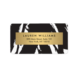 Abstract Black Brushstrokes with Gold Name Label Address Label
