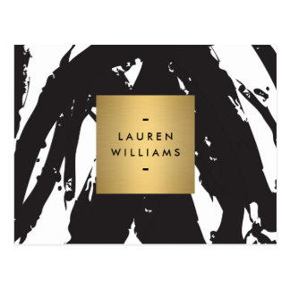 Abstract Black Brushstrokes with Gold Name Logo Postcard