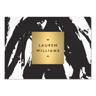 Abstract Black Brushstrokes with Gold Notecard 11 Cm X 16 Cm Invitation Card