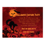 Abstract Black Cat and Bats Halloween Party Invite