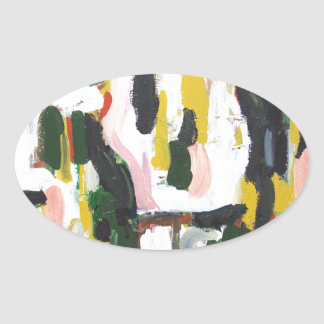 Abstract Black Cats and White Dogs Oval Sticker