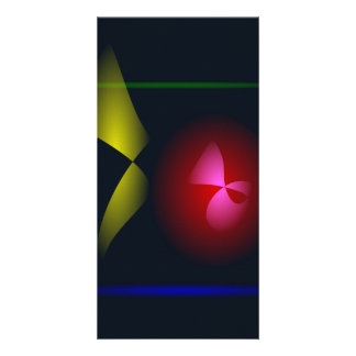 Abstract Black Contrast Flower and Vase Custom Photo Card