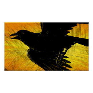 Abstract Black Crow Grunge Poster