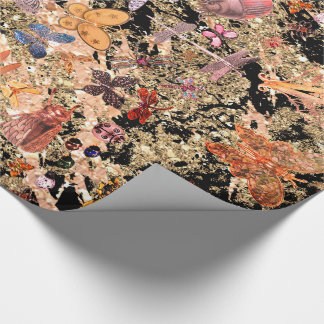 Abstract Black Gold Meadow Butterfly Insects Gems Wrapping Paper