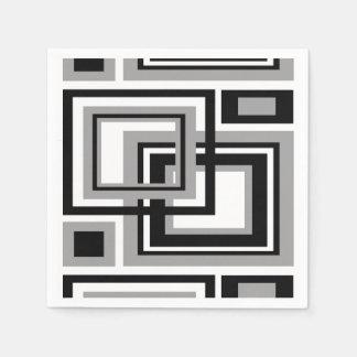Abstract Black Gray Grey Geometric Square Pattern Paper Napkin