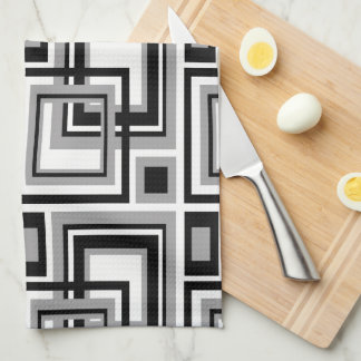 Abstract Black Grey Grey Geometric Square Pattern Kitchen Towels