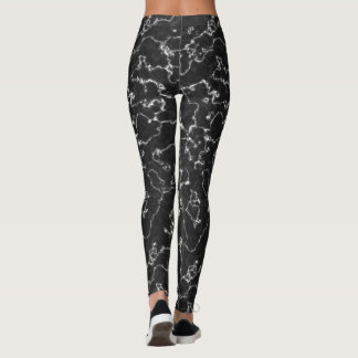 Abstract Black Marble Yoga Leggings