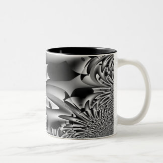 Abstract Black waves sulk Two-Tone Coffee Mug