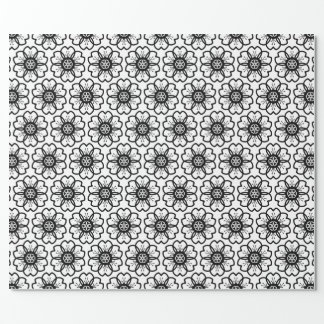Abstract Black White Flower Doodle Heart Pattern.