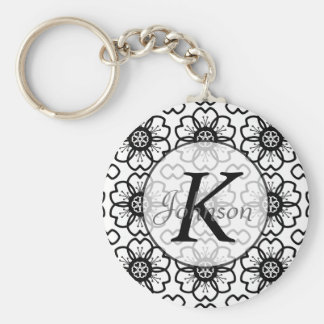 Abstract Black White Flower Doodle Heart Pattern. Basic Round Button Key Ring