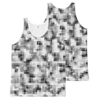 Abstract Black White Gray All-Over Print Singlet