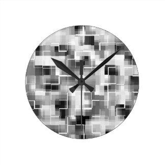 Abstract Black White Gray Round Clock