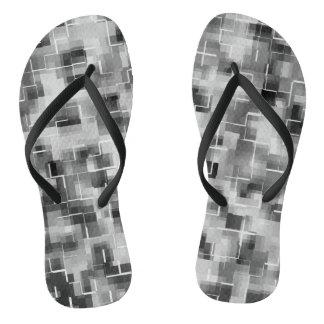 Abstract Black White Gray Thongs