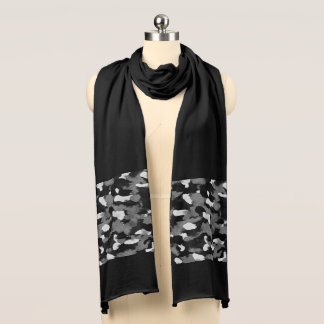 Abstract Black White Grey Motif accenting a Scarf