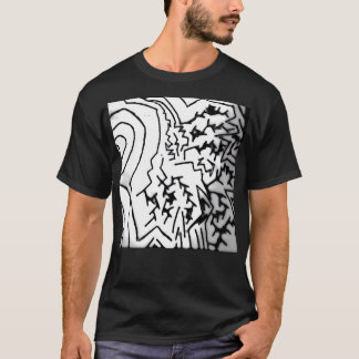 "Abstract Black/White ""Lightning"" T-Shirt"" T-Shirt"