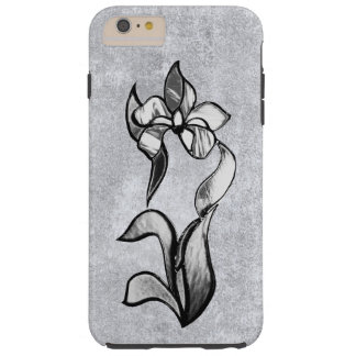 Abstract black white shine flowers on silver tough iPhone 6 plus case