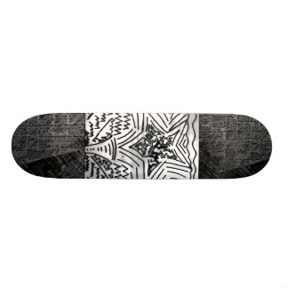 "Abstract Black/White ""Star"" W/Black/Grey Edges Skate Deck"