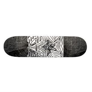 "Abstract Black/White ""Star"" W/Black/Grey Edges Skate Deck"