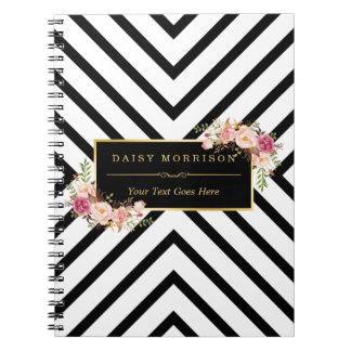 Abstract Black White Stripes and Floral Gold Frame Notebooks