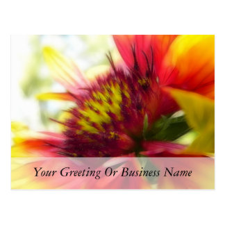 Abstract Blanket Flower Bloom Post Card